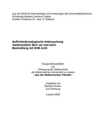 Auflichtmikroskopische Untersuchung melanozytärer Nävi vor und ...