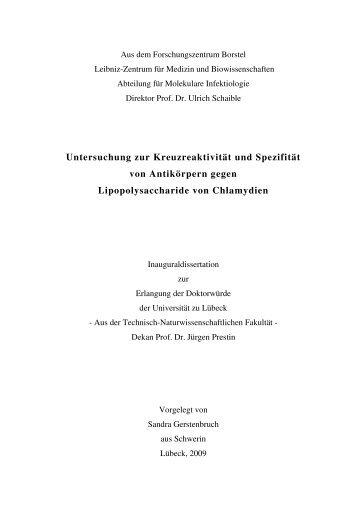 Untersuchung zur Kreuzreaktivität und Spezifität von Antikörpern ...