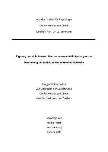 Eignung der nichtlinearen Herzfrequenzvariabilitätsanalyse zur ...