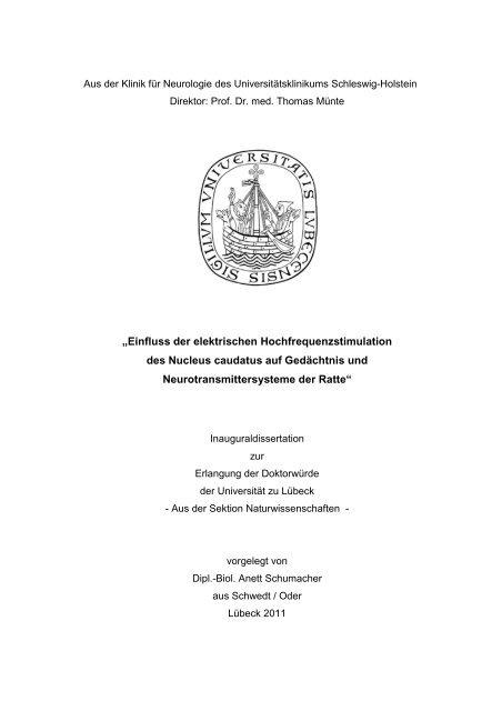 """""""Einfluss der elektrischen Hochfrequenzstimulation des Nucleus ..."""