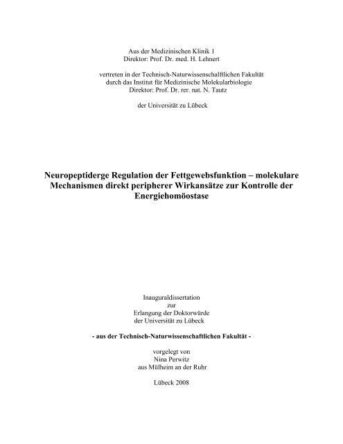 Neuropeptiderge Regulation der Fettgewebsfunktion–molekulare ...