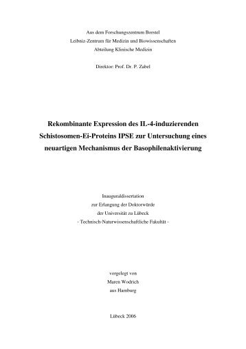 Rekombinante Expression des IL-4-induzierenden Schistosomen-Ei ...