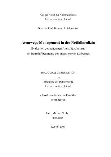 Atemwegs-Management in der Notfallmedizin - Universität zu Lübeck