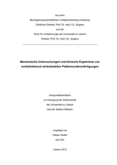 Mechanische Untersuchungen und klinische Ergebnisse von ...