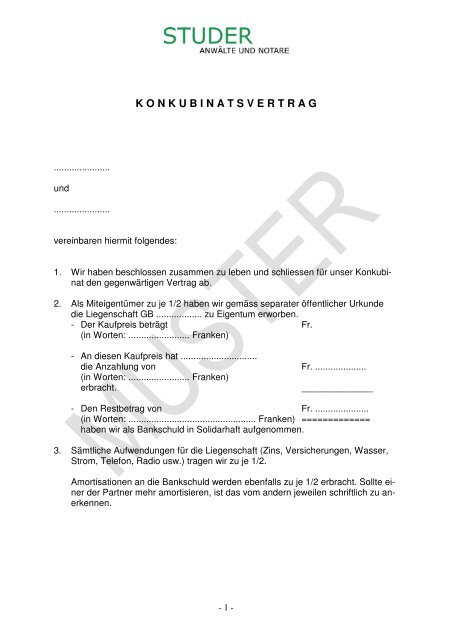 Konkubinatsvertrag Muster