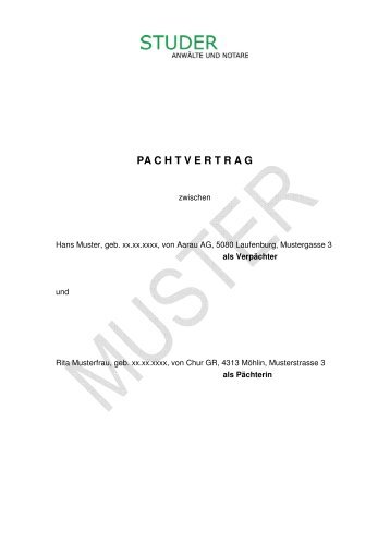 pachtvertrag muster - Muster Pachtvertrag