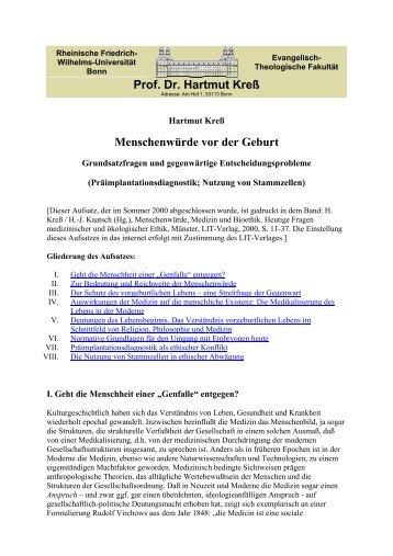 Prof. Dr. Hartmut Kreß Menschenwürde vor der Geburt