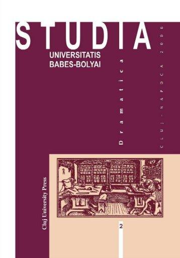 studia universitatis babeş – bolyai dramatica teatru, film, media 2