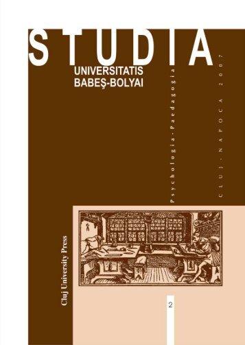 studia universitatis babeş – bolyai psychologia-paedagogia 2