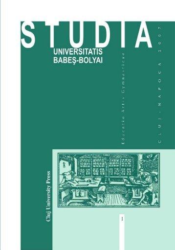studia universitatis babeş–bolyai educatio artis gymnasticae 1