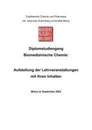 Diplomstudiengang Biomedizinische Chemie - Studienbüros des ...