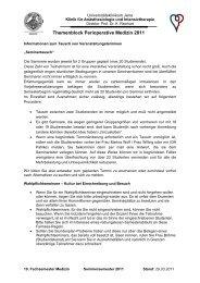 Themenblock Perioperative Medizin 2011 - Studiendekanat ...