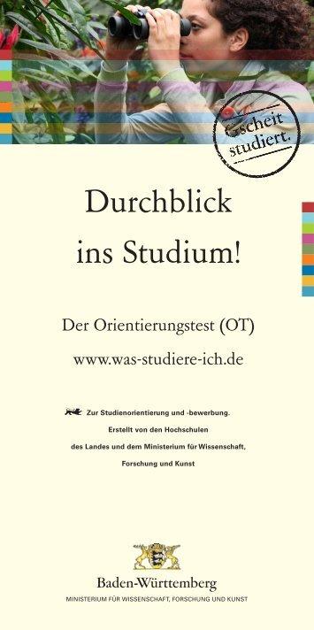 Der Orientierungstest - Studieninformation Baden-Württemberg