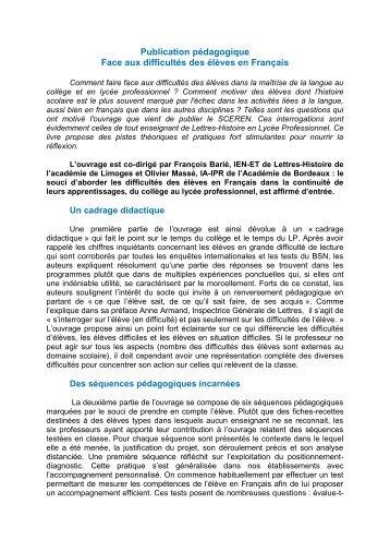 Publication pédagogique Face aux difficultés des élèves en Français