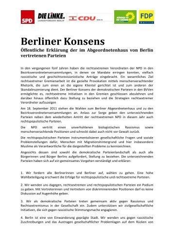 Berliner Konsens Öffentliche Erklärung der im ... - MBR Berlin