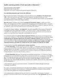 Quelles sanctions possibles à l'école maternelle et élémentaire ?