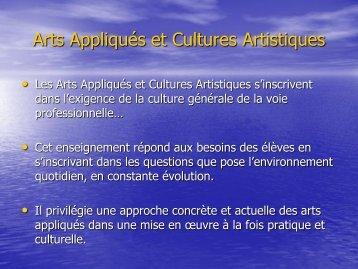 Arts Appliqués et Cultures Artistiques