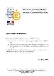 Présentation d'actions EEDD