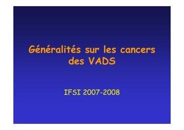 Généralités sur les cancers des VADS