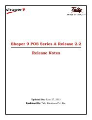 Shoper 9 POS Series A Release 2.2 Release Notes - Tally