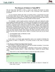 Pre-Closure of Orders in Tally.ERP 9