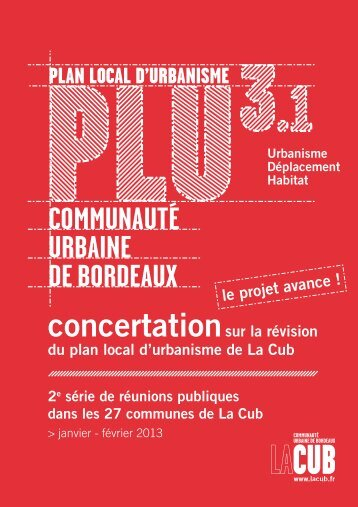 PLAN LOCAL D'URBANISME - Participation de la CUB et de ses ...