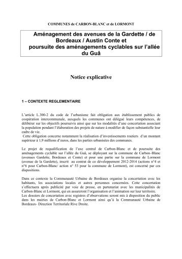 Notice explicative - Participation de la CUB et de ses communes