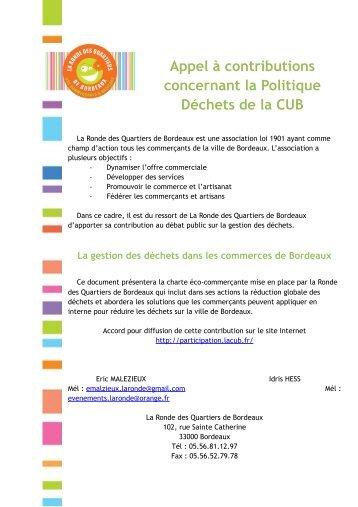 La Ronde des Quartiers - Participation de la CUB et de ses ...