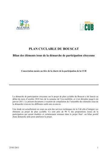 PLAN CYCLABLE DU BOUSCAT - Participation de la CUB et de ses ...