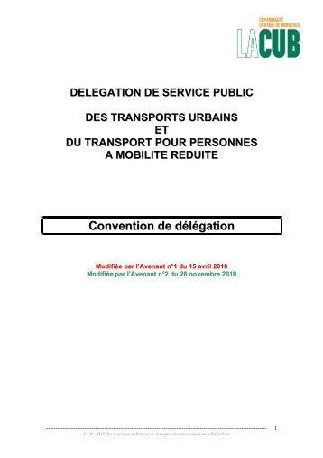 Convention de délégation - Participation de la CUB et de ses ...