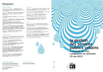 la gestion des services publics urbains - Participation de la CUB et ...