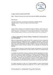 Compte-rendu de réunion du 26/01/2012 - Participation de la CUB ...
