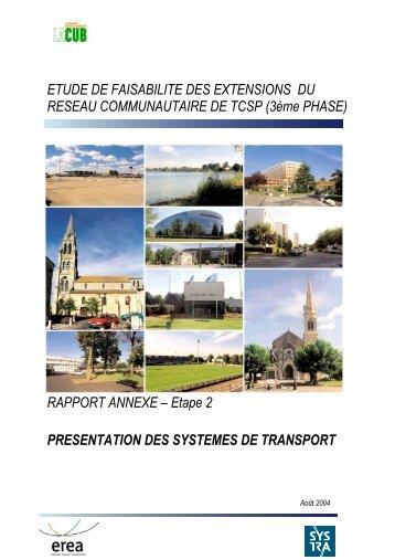 presentation des systemes - Participation de la CUB et de ses ...