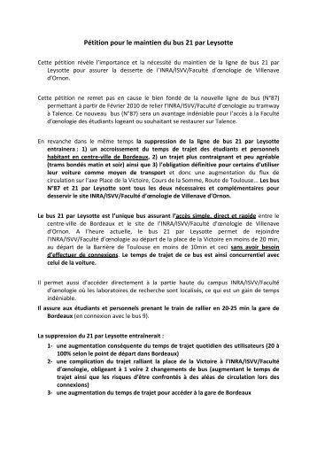 Pétition pour le maintien du bus 21 par Leysotte - Participation de la ...