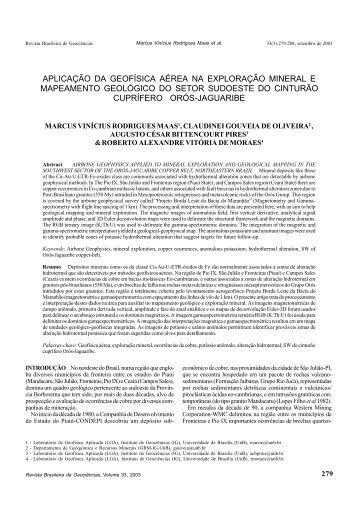 aplicação da geofísica aérea na exploração mineral - Sociedade ...