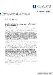 PRESSEMITTEILUNG 05|2012 - Dr. Schneider