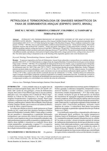 petrologia e termocronologia de gnaisses migmatíticos da faixa de ...