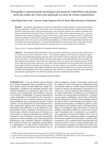 Petrografia e caracterização tecnológica dos gnaisses enderbíticos ...