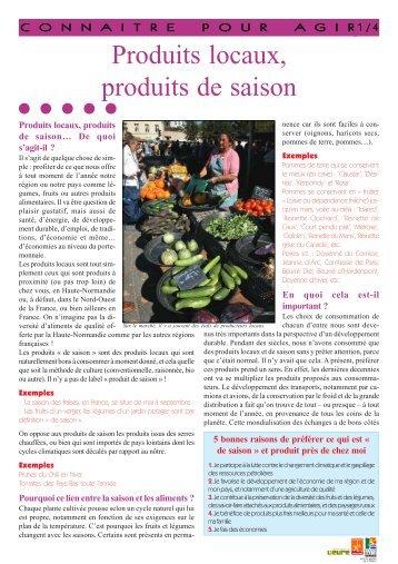 Produits locaux, produits de saison - Arehn