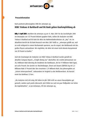 HSBC Trinkaus & Burkhardt und DG Bank geben ... - DocCheck AG