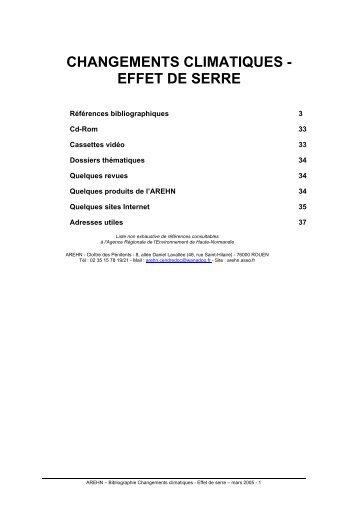 CHANGEMENTS CLIMATIQUES - EFFET DE SERRE - Arehn