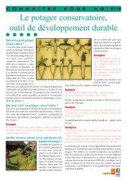 Le potager conservatoire, outil de développement durable - Arehn