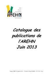 Catalogue des publications de l'AREHN Juin 2013