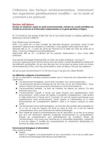 Intervention orale de Joël Spiroux - Arehn
