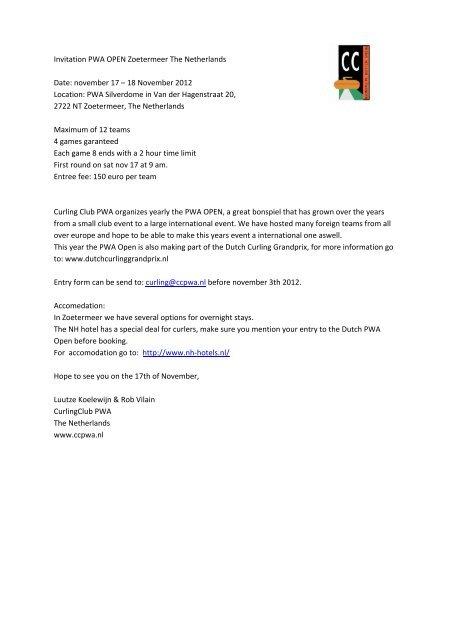 Invitation PWA OPEN Zoetermeer The     - Curling Club Düsseldorf