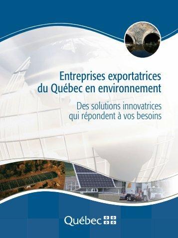 Entreprises exportatrices du Québec en environnement