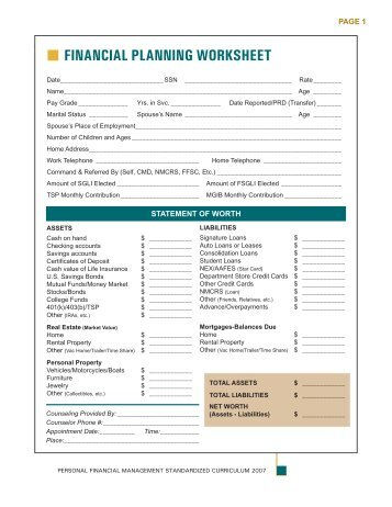Million DS Financial Planning Worksheet (5 ... - NavyLifeSW.com