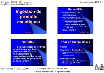 Ingestion de produits caustiques - Faculté de médecine de Montpellier