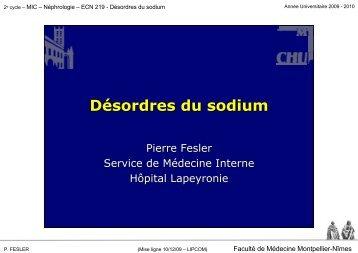 Désordres du sodium - Faculté de médecine de Montpellier