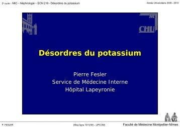 Désordres du potassium - Faculté de médecine de Montpellier